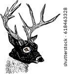 deer head with black mask hand... | Shutterstock . vector #618463328