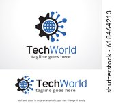 tech world logo template design ... | Shutterstock .eps vector #618464213