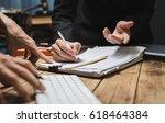 serious consultations between... | Shutterstock . vector #618464384