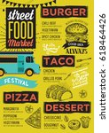 street food festival menu.... | Shutterstock .eps vector #618464426