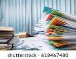 Small photo of Business accounting paperwork for present with diagram display on office desk table.