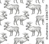 reindeer. seamless pattern with ... | Shutterstock .eps vector #618467759