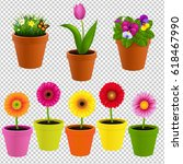 flower in pot collection... | Shutterstock .eps vector #618467990