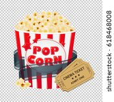 popcorn in cardboard box with... | Shutterstock .eps vector #618468008