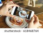 closeup of women's hands taking ... | Shutterstock . vector #618468764