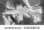 xray scan detects gun weapon in ... | Shutterstock . vector #618468818
