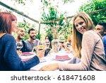 group of friends at restaurant... | Shutterstock . vector #618471608