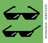 pixel sunglasses.  flat design...   Shutterstock .eps vector #618472103