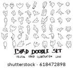 doodle sketch bird icons... | Shutterstock .eps vector #618472898