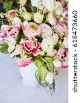 flower arrangement with tulips ... | Shutterstock . vector #618473660