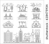 landscape city buildings thin...   Shutterstock . vector #618475934