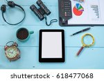 top view mock up tablet similar ... | Shutterstock . vector #618477068