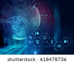 fintech icon  on abstract financial technology background represent Blockchain and  Fintech Investment Financial Internet Technology Concept. - stock photo