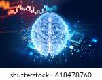 3d rendering of human  brain on ... | Shutterstock . vector #618478760