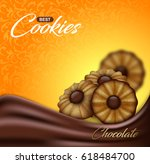 buttery cookies with chocolate... | Shutterstock .eps vector #618484700
