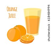 orange juice  orange and slices.... | Shutterstock .eps vector #618484994