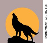 wolf icon and the moon   vector ... | Shutterstock .eps vector #618487118