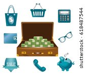 the suitcase with the money ... | Shutterstock .eps vector #618487544