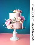 bunk pink cream wedding cake... | Shutterstock . vector #618487940
