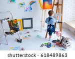 cute  serious and focused ...   Shutterstock . vector #618489863