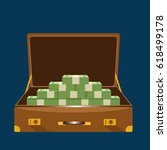 the suitcase with the money on... | Shutterstock .eps vector #618499178