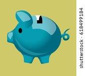 piggy bank pig blue | Shutterstock .eps vector #618499184