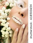 white makeup with applied... | Shutterstock . vector #618503654