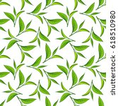 seamless pattern with green tea ... | Shutterstock . vector #618510980