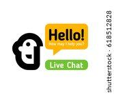 chatbot icon or logo with head...   Shutterstock .eps vector #618512828