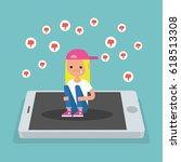 upset crying girl sitting on... | Shutterstock .eps vector #618513308
