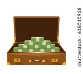 a suitcase full of money on... | Shutterstock .eps vector #618515918