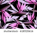 seamless tropical flower  plant ... | Shutterstock . vector #618520616