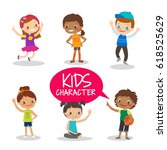 happy teen preteen kids cartoon ... | Shutterstock .eps vector #618525629