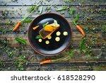 braised norwegian salmon with...   Shutterstock . vector #618528290
