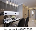 modern classic kitchen interior ...   Shutterstock . vector #618528908