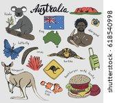 australia travel doodles.hand... | Shutterstock .eps vector #618540998
