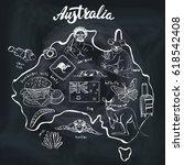 australia travel doodles map... | Shutterstock .eps vector #618542408