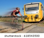 terrified cyclist is rushing... | Shutterstock . vector #618543500