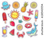 set of cute cartoon stickers... | Shutterstock .eps vector #618543554