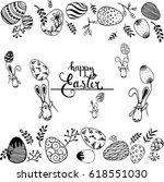 easter eggs composition hand... | Shutterstock .eps vector #618551030