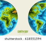 earth planet  3d paper cut... | Shutterstock .eps vector #618551594