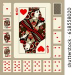playing cards of hearts suit in ... | Shutterstock . vector #618558020