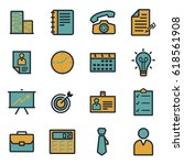 vector flat business icons set... | Shutterstock .eps vector #618561908