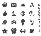 vector black summer icons set... | Shutterstock .eps vector #618561938