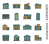 vector flat buildings icons set ... | Shutterstock .eps vector #618562853