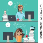 woman fresh and ready to work... | Shutterstock . vector #618567374