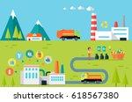 worker sorting different types... | Shutterstock . vector #618567380
