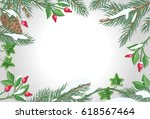 frame with sweetbrier  pine... | Shutterstock . vector #618567464