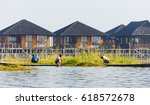 traditional floating village at ... | Shutterstock . vector #618572678
