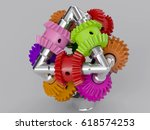3d rendering gear assembly... | Shutterstock . vector #618574253